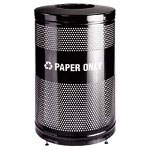 United Receptacle Black Steel Fireproof Trash Can, 51 Gallon, Round