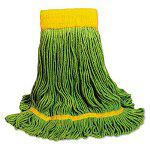 Unisan EcoMop Looped-End Mop Head, Recycled Fibers, Medium Size, Green
