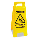 "Unisan ""Caution"" Safety Sign For Wet Floors, 2-Sided, Plastic, 11x1-1/2x26, Yellow"