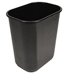 Unisan Rectangle Plastic Desk Wastebasket, 28 Quart, Black