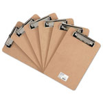 "Universal Clipboard with Low-Profile Clip, 1/2"" Capacity, 5 x 8 Sheets, Brown, 6/Pk"