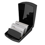Universal Covered Business Card Tray, 250-Card Capacity, Black