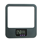 Universal Recycled Plastic Cubicle Mirror with Digital Clock, Charcoal
