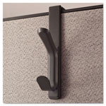 Universal Recycled Cubicle Coat Hook, 2 Hook, Plastic, Charcoal