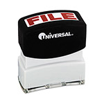 "Universal Pre-Inked ""FILE"" Message Stamp, 9/16 x 1 11/16, Red"