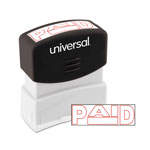 "Universal Pre-inked one-color ""paid"" stamp w/date, red, 1-1/2 x 1/2 impression size"