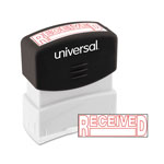 "Universal Pre-Inked ""RECEIVED"" Message Stamp, 9/16 x 1 11/16, Red"