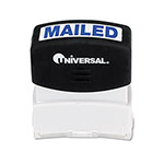 "Universal Pre-Inked ""MAILED"" Message Stamp, 9/16 x 1 11/16, Blue"
