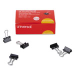 "Universal Mini Binder Clips, Steel Wire, 1/4"" Capacity, 1/2"" Wide, Black/Silver, 36/Pack"