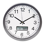 Universal Round Wall Clock with LCD Inset, 14in, Gray