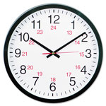 "Universal 12 1/2"" Diameter 24 Hour Round Wall Clock, Black Case"