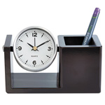Universal Executive Desk Clock, Brushed Nickel