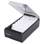 Universal High-Capacity Metal/Plastic Business Card File, Black/Smoke, 4 1/4 x 8 1/4 x 2 1/2