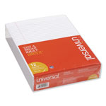 Universal Glue Top 8 1/2 x 11 Writing Pads, White, Wide Rule, 50/Pad, Dozen
