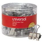 "Universal Small Binder Clips, 3/8"" Capacity, 3/4"" Wide, Silver, 40 per Pack"