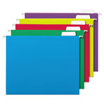 Universal Recycled Assorted Bright Color Hanging File Folders, Letter Size, 1/5 Cut, 25/Bx