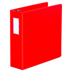 "Universal 48% Recycled D-Ring Binder, 3"" Capacity, Red"