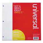 Universal Mediumweight 15-lb. Filler Paper, 8 x 10 1/2, Wide Rule, White, 200 Sheets/PK
