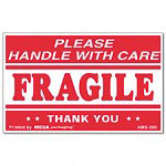 "Universal ""Fragile Handle with Care"" Self-Adhesive Shipping Label, 2-1/2 x 4, 500 per Roll"