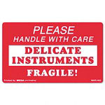 "Universal ""Handle with Care Delicate Instruments"" Self-Adhesive Label, 3 x 5, 500 per Roll"