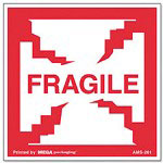 "Universal ""Fragile"" Self-Adhesive Shipping Labels, 2-1/2 x 2-1/2, 500 per Roll"