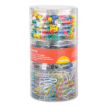 Universal Combo Clip Pack, Assorted Binder Clips/Paper Clips/Push Pins