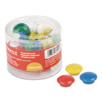 "Universal Assorted Magnets, Plastic, 1 1/2"" dia, 1 3/8"" dia, 3/4 dia, Asst Colors, 30/PK"
