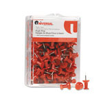 "Universal Colored Push Pins, Plastic, Red, 3/8"", 100/Pack"