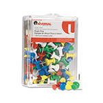 "Universal Assorted Rainbow Color Push Pins, 100 Push Pins per Pack, 3/8"" Point"
