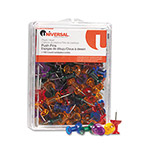 "Universal Assorted Gemstone Color Push Pins, 100 Push Pins per Pack, 3/8"" Point"