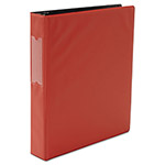 Universal Suede Finish Vinyl Round Ring Binder With Label Holder, Red