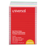 Universal Standard Self Stick Pastel 4x6 Ruled Notes, Assorted, 5 100 Sheet Pads/Pack