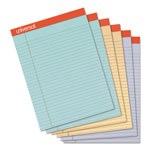 Universal Fashion Colored Perforated Ruled Writing Pads, Wide,8 1/2x11 3/4,50 Sheets,6/pk