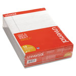 Universal fashion color perforated top gray writing pads, 8 1/2x11, wide rule, 50/pad, dozen