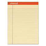 Universal Fashion-Colored Perforated Note Pads, 8 1/2 x 11, Legal, Ivory, 50 Sheets, 6/PK