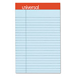 Universal Fashion-Colored Perforated Note Pads, 5 x 8, Legal, Blue, 50 Sheets, 6/Pack
