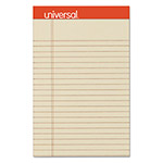 Universal Fashion-Colored Perforated Note Pads, 5 x 8, Legal, Ivory, 50 Sheets, 6/Pack