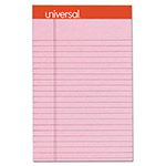 Universal Fashion-Colored Perforated Note Pads, 5 x 8, Legal, Pink, 50 Sheets, 6/Pack