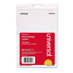 Universal Self Adhesive Name Badges with Red Border, 3 3/8 x 2 1/4, 100 Badges/Pack