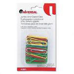 Universal Jumbo Size Vinyl Coated Wire Paper Clips, Assorted Colors, 40 Clips per Pack