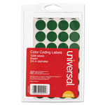 "Universal Permanent Round Self Adhesive Labels, 3/4"" Dia. Green, 1008/Pack"