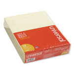 Universal Glue Top 8 1/2 x 11 Writing Pads, Canary, Narrow Ruled, 50/Pad, Dozen