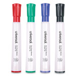 Universal Dry Erase Chisel Tip Markers, Four Color Set, Black, Blue, Red, Green