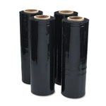 "Universal Black Stretch Film, 18""w x 1,500' Roll, 20 Micron (80 Gauge), 4 Rolls/Carton"