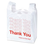 "Universal Plastic ""Thank You"" Shopping Bags, 11 1/2 x 6 x 22, 0.55 mil, White/Red, 1000/BX"