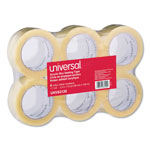 "Universal Box Sealing Tape, 2"" x 120 Yards, 3"" Core, Clear, Six per Box"