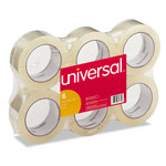 "Universal Box Sealing Tape, 2"" x 100 Yards, 3"" Core, Clear, Six per Box"