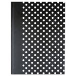Universal Casebound Hardcover Notebook, 10 1/4 x 7 5/8, Black with White Dots