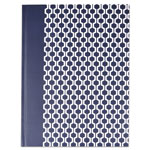 Universal Casebound Hardcover Notebook, 10 1/4 x 7 5/8, Dark Blue with Hexagon Pattern