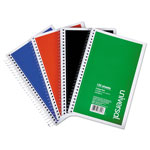 Universal 3 Sub. Wirebound Notebook, 6 x 9 1/2, College Rule, 120 Sheets, Asst Cover, 4/PK